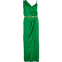 Green asymmetric maxi slip dress