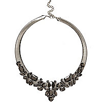 Gunmetal tone slinky gem stone necklace