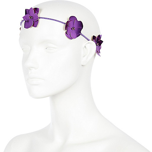 Purple metallic 3D flower garland headband