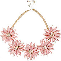 Pink chunky flower statement necklace