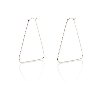 Silver tone triangle hoop earrings