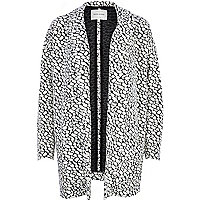 Black and white jacquard oversized coat