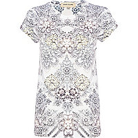 White jewel front print embellished t-shirt