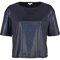 Black holographic cropped t-shirt
