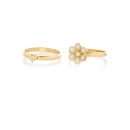 Gold tone daisy and heart midi rings pack
