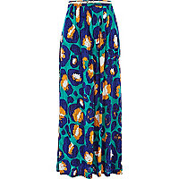 Blue graphic animal print maxi skirt