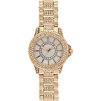 Gold tone embellished bracelet watch