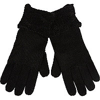 Black cable knit cuff gloves