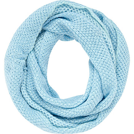 Light blue waffle knit snood