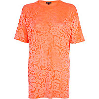 Orange floral devore oversized t-shirt