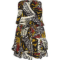 Red abstract tribal print hiked hem dress