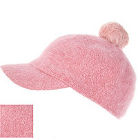 Light pink angora pom pom cap