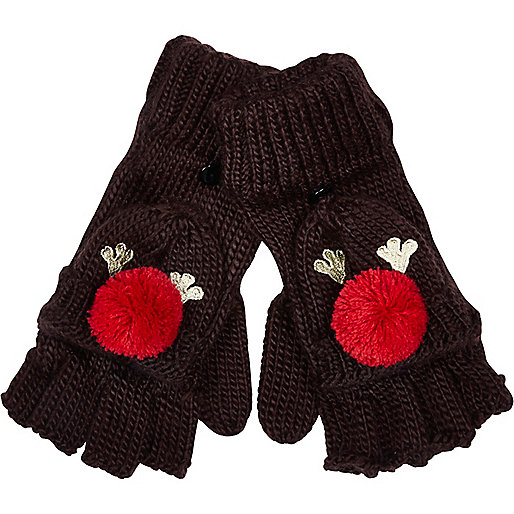Brown Rudolph 2 in 1 gloves