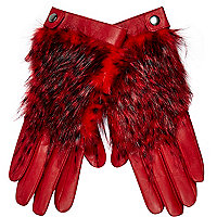 Red leather faux fur panel gloves