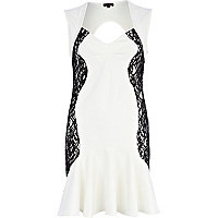 Cream contrast lace panel flute hem dress