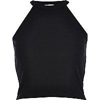 Black high neck ribbed crop top