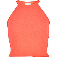 Bright pink high neck ribbed crop top