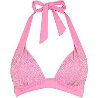 Pink heatseal embellished bikini top