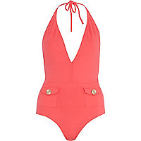 Pink patch pocket halter neck swimsuit