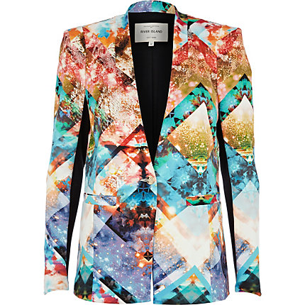 Blue shattered glass print blazer