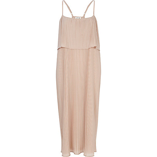 Light pink layered pleated slip dress