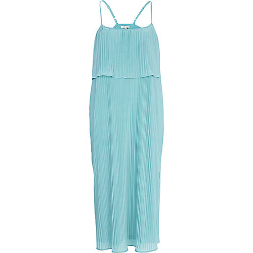 Light blue layered pleated slip dress