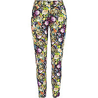 Multicoloured floral print skinny trousers