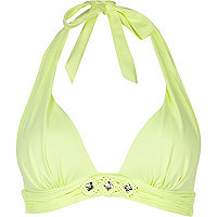 Lime macrame trim halter neck bikini top