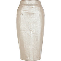 Gold leather-look pencil skirt