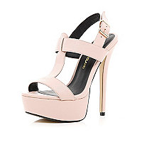 Light pink T bar platform sandals