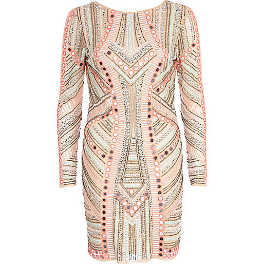 Pink mirror embellished bodycon dress