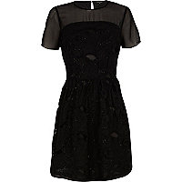 Black 3D embellished skater dress