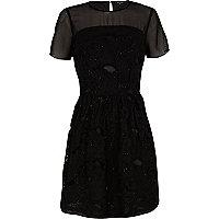 Black 3D embellished skater dress