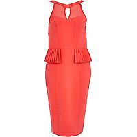 Bright coral pleated peplum dress