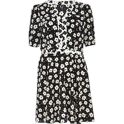 Black floral print contrast trim tea dress