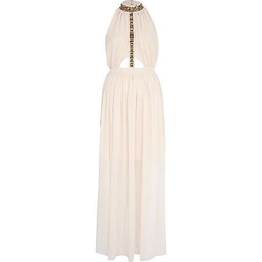 Beige embellished turtle neck maxi dress