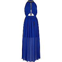 Blue embellished turtle neck maxi dress