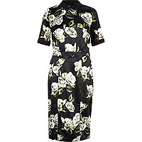 Black floral print shirt pencil dress