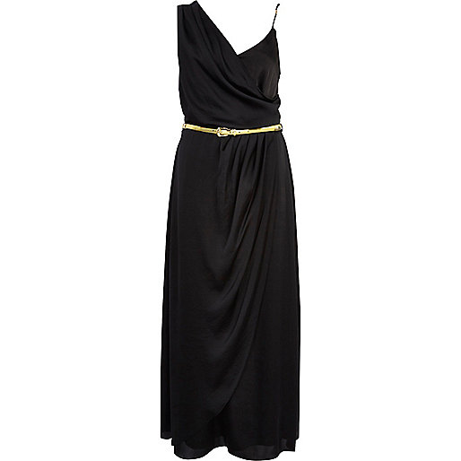 Black asymmetric maxi slip dress