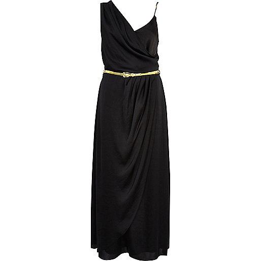Black asymmetric maxi slip dress