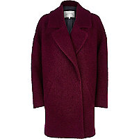 Dark raspberry  boucle oversized coat