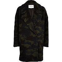 Khaki camo print wool oversized coat