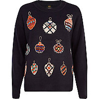Navy embellished bauble Christmas jumper