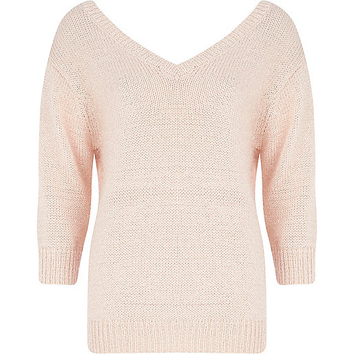 Light pink deep V neck jumper