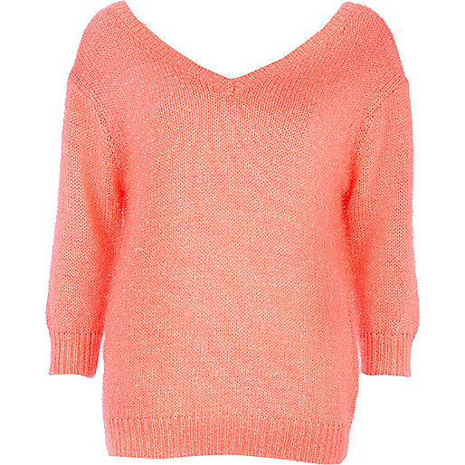 Bright coral deep V neck jumper