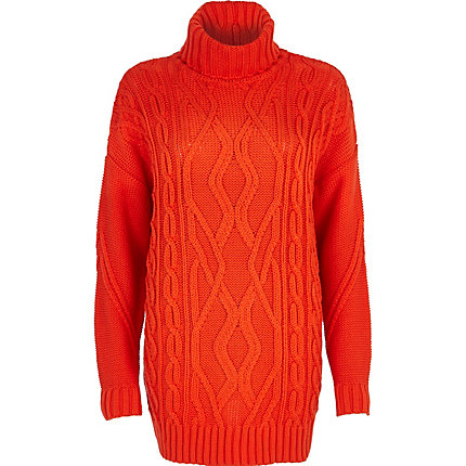 Red roll neck cable knit tunic
