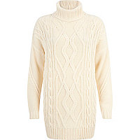 Cream roll neck cable knit tunic