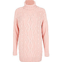 Light pink roll neck cable knit tunic