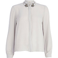 Grey embellished collar shirt