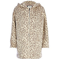 Cream animal print hooded faux fur coat